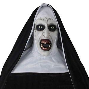 2019 Halloween masque Les masques de latex d'horreur cosplay masque d'horreur Nun Avec Halloween Party décoration Foulard Props Y200103