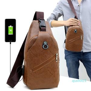 Man Sport Kleiner Rucksack Man Chest Pack USB-Kopfhörer-Loch-Ladereise geneigter Schulterbeutel der neuen Ankunfts-12sz L1