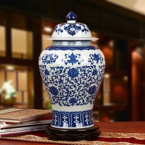 La riproduzione vaso di zenzero vaso di ceramica antica porcellana tempio vasi decorazione della casa blu e vasi di ceramica bianche con coperchi