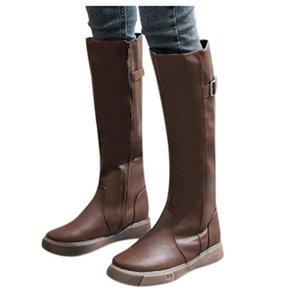 Uzun Kar Diz Yüksek patik fermuar Yeni Kadın Boots Kış renkleri Kovboy Sıcak Ayakkabı Deri Moda Bayan Çizme Ayakkabı soild