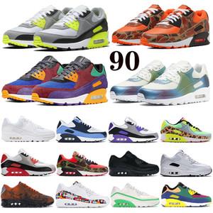 Clássico 90 das mulheres dos homens Running Shoes reverter camo pato 90 OG volts Mars Landing reflexivo Mens Formadores Almofada de superfície Sports Sneakers