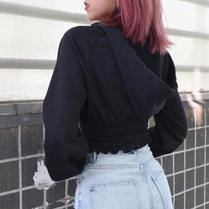 InsGoth Casual Satılan Siyah Kapşonlu Sweatshirt Kadınlar Streetwear Gothic Punk İnce Crop Top Kadın Kapüşonlular Fermuar Tişörtü 200922