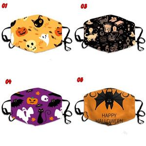Gatos pretos do Ghost Pumpkin Halloween feliz Boca Máscaras Bats Mascarilla reutilizável Respirar Mascherine Moda Crianças Adultos 3xbb C2