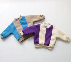 FM Korean Quality New Kids Little Boys Girls Patchwork Sweatshirts Long Sleeve Winter Fleece Cotton Unisex Child Bountique Clothes Tops