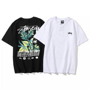 Stussy coton noir et blanc de motif d'impression de graffiti à injection directe de sexe masculin à manches courtes et couples de femmes M-2XL noir et blanc