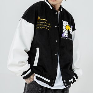 Hip Hop Patchwork Button Jackets Mens Streetwear Embroidery Bomber Jacket Baseball Coats