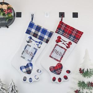 Navidad Dog Paw Frohe Weihnachten Strumpf Geschenk Aufbewahrungstasche Weihnachtsbaum Anhänger Socken Organizer Dekorationen gestaltete Ornamente 15bh C2