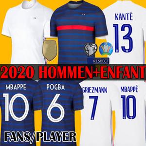 팬 / 플레이어 Maillots 축구 드 2020 2021 MBAPPE GRIEZMANN POGBA (20) (21) 축구 유니폼의 타이츠 발 FEKIR PAVARD 축구 병력의 enfants 드