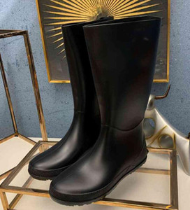 Brand Name Womens Rainboots Knee Snow Knight Genuine Leather Winter Martin Rubber Waterproof Outdoor Galoshes Boots SZ35-40