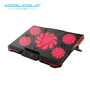 COOLCOLD Gaming Laptop Cooler Cinq ventilateurs LED Écran 2 USB Mute Laptop Cooling Pad Notebook Stand pour 12-17 pouces