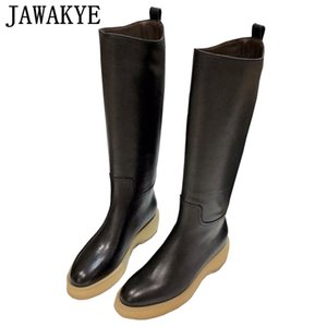 New Wedge heel Designer winter black long boots Platform Shoes Genuine Leather Knee High Boots for women Cowboy Knight