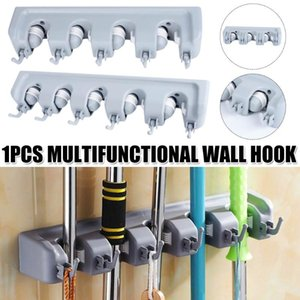 Hooks & Rails Multifunctional Wall-Mounted Tool Organizer Broom Mop Hook Card Holder Rack Bathroom Garden Supplies XHC88