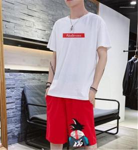 짧은 소매 의류 남성 운동복 크루 넥 단편 만화와 문자는 패션 여름을 실행 남성 스포츠 정장 인쇄하기