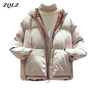 ZQLZ capa de las mujeres 2020 Nueva Moda con capucha Negro Dames Jassen invierno algodón ocasional Parka Donna mujeres delgadas chaquetas de invierno CX200814