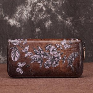 2020 new cowhide ladies purse long handbag retro leather European and American ladies wallet long zipper bag