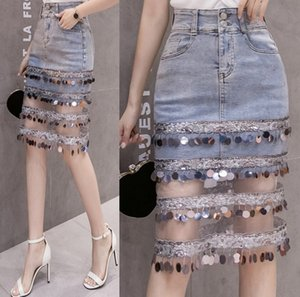 2020 One-Step Quaste denim newlarge bead Quaste Einstufen-skirt Paillette stitching denim skirt Netz Hüft-covered