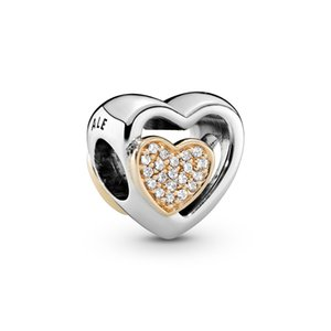 925 Sterling Silver Two Hearts In One Charms Beads with 14k Gold Plated and Clear Cubic Zirconia Fit Pandora Bracelet for DIY Jewelry making