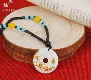 Chinese-Style Designer Design Gift Hetian Jade Gold Inlaid Jade Pendant Flower Blooming Rich Necklace Ping An Buckle Couples Set Pendant11