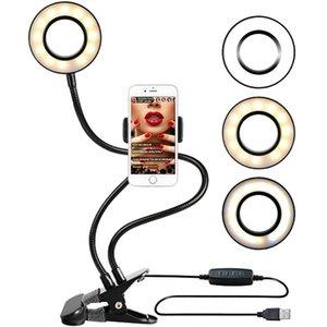 CgjxsPhoto Estúdio selfie Led Anel Luz Com Cell Phone Mobile Holder Para Youtube Streaming Maquiagem Camera Lâmpada Para Iphone Android