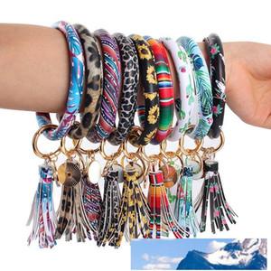 Leather Wrap Tassels Bracelets Key Ring Leopard Print Chain Wristband Sunflower Drip Oil Bangle Keychain Party Gift