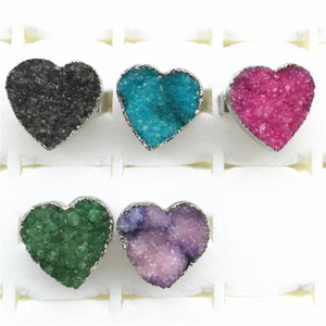 Heart Hot 2020 New Dayoff European Crystal Natural Agates Stone Ring For Women Men Drusy Druzy Rings Woman Jewelry 1PCS Wholesal