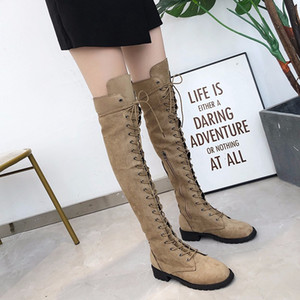 Explosive European and American Women's New Over-the-knee Boots Fashion Round Toe Boots 43 Large Size Women's