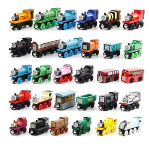 Wooden Magnetic Trains Model Toys Track Railway Vehicles Wood Locomotive Cars For Children Kids Gift