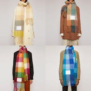 Marca Acne Studios di alta qualità a 4 colori Wool scarf nuova griglia arcobaleno scialle frangiato per maschi e femmine