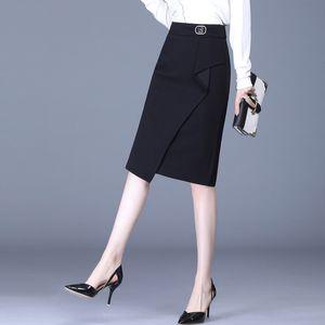 FJ9TQ N2ILR Vestido negro One-Step One-Step 2020 High New New Otoño Cintura Irregular Falda de cubierta de cadera dividida Falda de longitud media de gran tamaño
