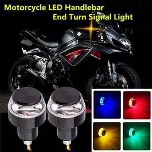 2pcs set DC 12V Motorcycle LED Handlebar End Turn Signal Light White Yellow Flasher Handle Grip Bar Blinker Side Marker Lamp