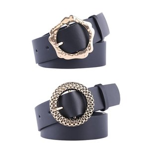Punk Black PU Leather Belts Women Round Gold Buckle Ladies Waist Strap Jeans Trouser Dress Wild Waistband Female