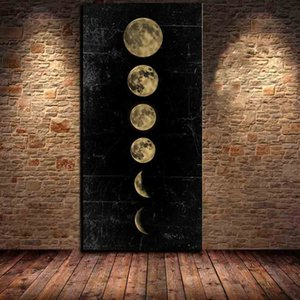 Big Size Eclipse of The Moon Wall Art Picture Minimalist Canvas Poster Print Universe Long Banner Art Painting Home Decor