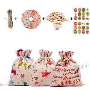 Christmas Drawstring Gifts Bags Party Filler Christmas Countdown Decorations with Advent Numbers Stickers, Clips, Rope MY-inf0365