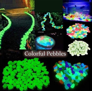 100pcsGarden Decor Luminous Stones Glow In Dark Decorative Pebbles Outdoor Fish Tank Decoration Pebble Rocks Aquarium Mix Color