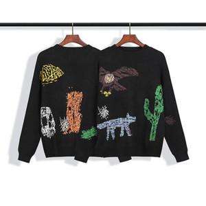 Известный стилист Mens Свитера рисованной Печатной Толстовки Мужчины Женщина Высокого качество Streetwear Стилист свитер размер S-XL