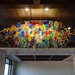 في مهب الحديثة LED سقف الأنوار الملونة اليد زجاج السقف ضوء ممتاز ثريا كريستال للمنزل فن الديكور شحن مجاني