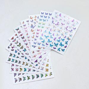 2020 Lazer kelebek sevimli 3D logosu sticker Çiçek Tasarım Nail Art Etiketler Çıkartmaları Manikür Güzel Moda Aksesuar Dekorasyon toptan