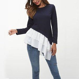 y2Act Damen Spring Mantel T-Shirt und Herbst Ärmel lang oben Rundhals unregelmäßige lässige T-Shirt der Frauen oben