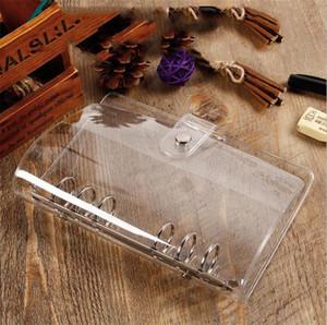 PVC Clear A6 Binder Six-hole Notepad Shell Metal Snap Button Notebook Clip Original Office Travel Handbook Case