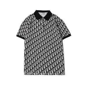 Yeni lüks tasarımcı erkek çizgili tişört Moda Polot Gömlek Erkekler yüksek Sokak baskılı erkek polo gömlekleri ile kaplı