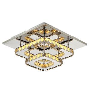 36W Praça de cristal Teto lâmpada LED Modern Lignt cristal pingente pendurado aparelho de iluminação para sala Bedroom