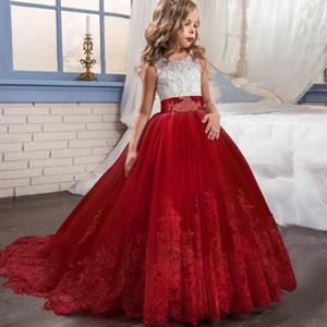 Vestido de boda de flores niña vestido rojo fiesta de cumpleaños de Navidad del cordón del bordado de los vestidos formales para niños para las muchachas ropa adolescente
