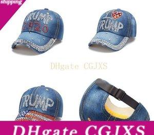 3 Styles President Donald Trump 2020 Caps High Quality Denim Diamond Hat Sports Baseball Cap Adjustable Snapback Women &#039 ;S Travel Hats