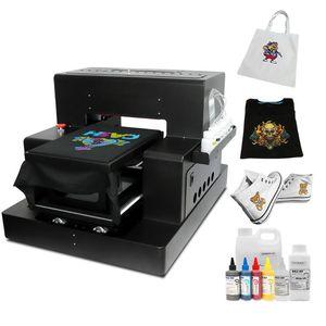 التلقائي A3 DTG طابعة مسطحة تي شيرت آلة الطباعة مع النسيج الحبر لحقيبة قماش حذاء ذو قلنسوة مباشرة إلى طابعات الملابس