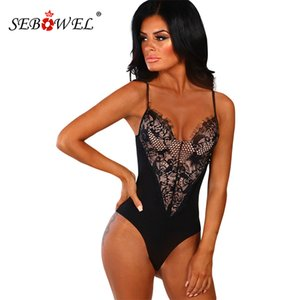 SEBOWEL 2020 Tops V Verão Bodycon Floral Lace Bodysuit Mulheres Preto / Branco Sexy Neck mangas Bodysuits Spaghetti Strap corpo