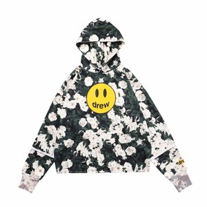 20FW Otoño Invierno Justin Bieber Drew House hielo flor de Rose cara de la sonrisa con capucha monopatín flojo con capucha unisex con capucha