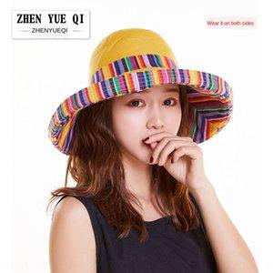 Zhenyuqi etnik tarzı çift taraflı plaj yaz kadın seyahat güneş koruması büyük kenar Etnik Groupsun şapka katlanabilir şapka
