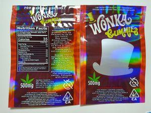 Kuru ot Tütün Çiçek Resellable In Stock Yeni Sıcak Wonka gummies Mylar Bag 500mg Edibles Fermuar Kılıfı Smeproof Depolama Perakende Çantası