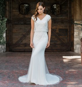 2020 Modern Beading Modest Wedding Dresses With Short Cap Sleeves Buttons Back Elegant LDS Country Bridal Gowns Sleeved Custom Made