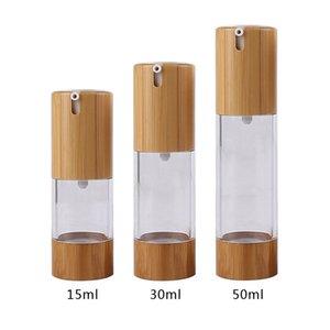 15ML / 30мл / 50ML прозрачный вакуумный лосьон Бутылки пластиковые Bamboo Косметические безвоздушного бутылки Эмульсия Пресс насос Упаковка Контейнер WB2489